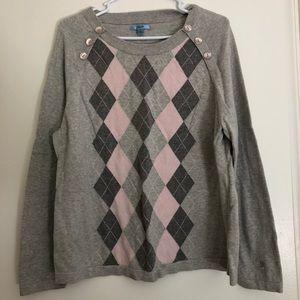IZOD Women's Sweater Pink/Grey